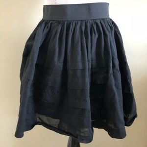 Anthropologie Black Striped Ruffle Skirt by Odille
